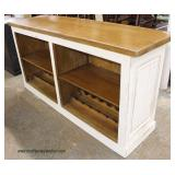 White Distressed and Mahogany Top Shabby Chic Style Bar with Foot Rail  Auction Estimate $ 400-$800