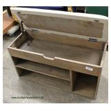 Reclaim Wood Style Upholstered Lift Top Bench with Storage  Auction Estimate $100-$200 – Located In