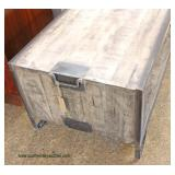 Reclaim Wood Industrial Style 2 Tier Coffee Table with Metal Legs and Handles  Auction Estimate $20