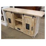 Reclaim Wood Industrial Style Sliding Door Media Cabinet  Auction Estimate $200-$400 – Located Insi