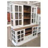 2 Piece White Distressed Shabby Chic 4 Door 1 Drawer Glass Panel Sides China Cabinet  Auction Estim