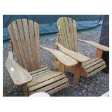 "PAIR of ""Wood Classis Inc."" Made in USA Teak Wood Outdoor Lawn Arm Chairs  Auction Estimate $300-$6"