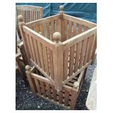 PAIR of Teak Wood Tables -or- Planters  Auction Estimate $200-$400 – Located Field