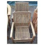 "PAIR of ""Bench Smith"" Teak Wood Outdoor Arm Chairs  Auction Estimate $300-$600 – Located Field"