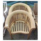PAIR of Teak Wood Barrel Back Outdoor Chairs  Auction Estimate $400-$800 – Located Field