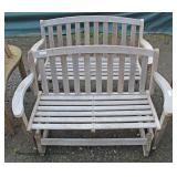 Teak Wood Outdoor Bench and Teak Wood Glider  Auction Estimate $200-$400 – Located Field