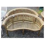 PAIR of Teak Wood Outdoor Barrel Back Settee's  Auction Estimate $200-$600 – Located Field