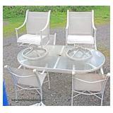 6 Piece Glass Top White Metal Outdoor Patio Set  Auction Estimate $200-$500 – Located Field