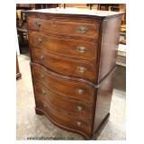NICE Mahogany Serpentine Front with Pencil Inlay High Chest  Auction Estimate $200-$400 – Located I