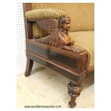ANTIQUE SOLID Rosewood with Carved Wing Lady Arm in Original Found Condition Settee attributed to J