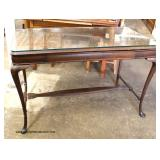 Walnut One Drawer Library Table with Custom Glass Top   Auction Estimate $100-$300 – Located Inside