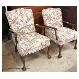 PAIR of Chippendale Style Mahogany Arm Chairs with Victorian Style Petti Point Upholstery   Auction