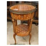 French Inlaid Style One Drawer Satinwood Table with Brass Gallery   Auction Estimate $100-$200 – Loc