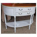 Paint Decorated Natural Finish top Demilune 2 Drawer Server   Auction Estimate $200-$400 – Located I