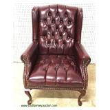 Leather Style Button Tufted Queen Anne Mahogany Frame Arm Chair   Auction estimate $100-$300 – Locat