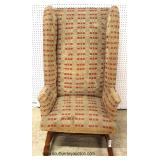 Early 18th Century High Back Maple Frame ANTIQUE Chair   with a 19th Century Coverlet Style Upholste