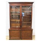 ANTIQUE 2 Piece SOLID Mahogany Step Back Bookcase  Auction Estimate $500-$1000 – Located Inside