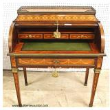 ANTIQUE French Inlaid Cylinder Roll Desk with Rosewood and other Exotic Woods with Brass Gallery At