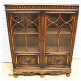 Depression Walnut Paint Decorated 2 Door Bookcase attributed to Berkey Gay Furniture  Auction Estim
