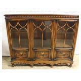 Depression Walnut Paint Decorated 3 Door Bookcase attributed to Berkey Gay Furniture