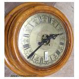 ANTIQUE Oak Brass Face Clock on Oak Stand Custom Made into a Table  Auction Estimate $200-$400 – Lo