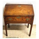 ANTIQUE Late 18th Century Early 19th Century Slant Front SOLID Mahogany 1 Drawer Desk   Auction Esti
