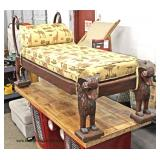 SOLID Mahogany Sphinx Carved Chaise Lounge  Auction Estimate $200-$400 – Located Inside