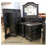 Contemporary Carved 5 Piece Marble Top King Bedroom Set  Auction Estimate $500-$1000 – Located Insi
