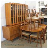 Mid Century Modern 8 Piece Danish Walnut Dining Room Set with 2 Piece China and 2 Leaves  Auction E