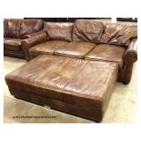 "Leather ""Restoration Hardware"" 2 Piece Sofa with Large Ottoman – may be offered separate  Auction E"
