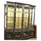 "Asian Decorated ""Union National Furniture"" 4 Door 2 Piece China Cabinet  Auction Estimate 200-$400"