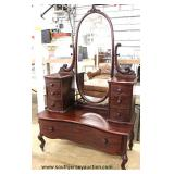 ANTIQUE SOLID Mahogany RARE Model Harlow Dresser with Mirror  Auction estimate $200-$400 – Located