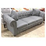 NEW Contemporary Button Tufted Sofa with Throw Pillows  Auction Estimate $200-$400 – Located Inside