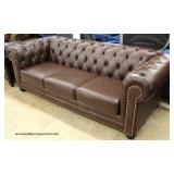 NEW Chesterfield Style Button Tufted Leather Sofa  Auction Estimate $300-$600 – Located Inside