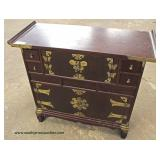 VINTAGE Mahogany Asian Chest with Applied Brass Decorations  Auction Estimate $100-$200 – Located In