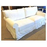 "NEW Shabby Chic ""Klaussner Home Furnishings"" Upholstery Sofa Made in USA  Auction estimate $100-$300"