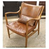 Modern Design Danish Walnut Leather Lounge Chair  Auction Estimate $300-$600 – Located Inside