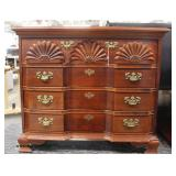 "Mahogany ""American Drew Furniture"" Shell Carved Block Front 4 Drawer Bachelor Chest  Auction Estimat"