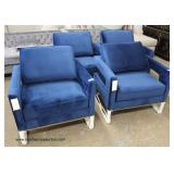Set of 12 Modern Design Blue Velour Lounge Chairs – may be offered separate  Auction Estimate $100-$