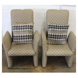 PAIR of Modern Style High Back Chairs with Pillows  Auction Estimate $200-$400 – Located Inside