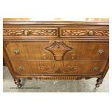 Depression Walnut Two Tone Dresser with Mirror  Auction Estimate $100-$300 – Located Inside