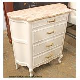"Paint Decorated ""Hekman Furniture"" Marble Top 4 Drawer Silver Chest  Auction Estimate $100-$300 – Lo"