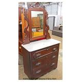 ANTIQUE Walnut Victorian Marble Top Dresser with Mirror  Auction Estimate $100-$300 – Located Inside