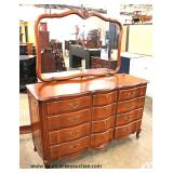 "SOLID Cherry ""Continental Furniture"" Serpentine Front Country French 6 Piece Bedroom Set with Full S"