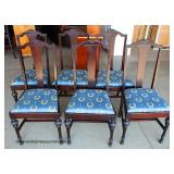 8 Piece Burl Mahogany Dining Room Set with Round Table with 4 Leaves and 6 Chairs and China Cabinet