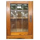 ANTIQUE Oak Beveled Glass Tall Case Cabinet  Auction Estimate $100-$300 – Located Inside