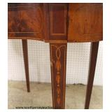 Burl Mahogany Banded and Inlaid with Bell Flower Inlay Lift Top Game Table  Auction Estimate $200-$4