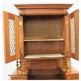 ANTIQUE Walnut Victorian Carved 2 Piece 4 Door 2 Door Court Cupboard  Auction Estimate $300-$600 – L