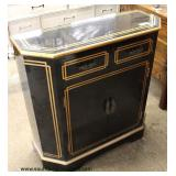 Black Asian Inspired 2 Drawer 2 Door with Gold Decorated Accents Server/Credenza  Auction Estimate $