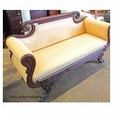 ANTIQUE Federal Style Mahogany Frame Winged Paw Foot Sofa  Auction Estimate $300-$600 – Located Insi